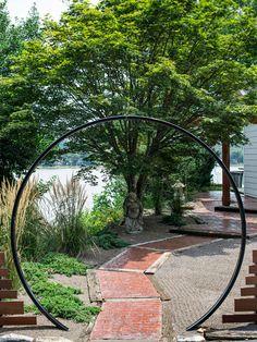 Sensational Asian-Themed Garden Decorating: Iconic Point Zen Entry Garden Round Gate Brick Pathway