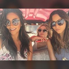 Shay, Ashley and Troian in the PLL go-cart