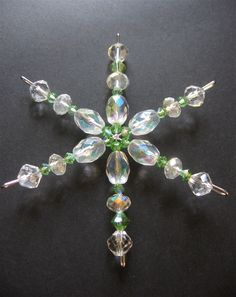 Beaded Snowflake Ornament. Christmas Snowflake Ornament - Snowflake #1