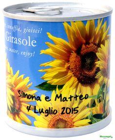Bomboniere naturali personalizzabili fiori in lattina GIRASOLE