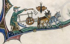 Gorleston Psalter - f. 153v: detail of a marginal scene of a man plowing with oxen, with a butterfly above
