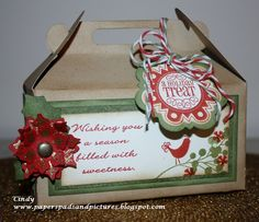 Treat box cut with Artiste Cricut Cartridge and decorated with CTMH Stamps