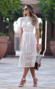 Crochet dress outfit simple ideas for 2019 Casual Dresses, Fashion Dresses, Short Sleeve Dresses, Summer Dresses, 90s Fashion, Boho Fashion, Dress Skirt, Lace Dress, Dress Up