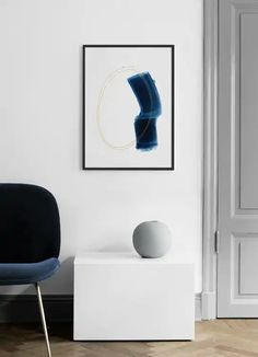 Blue Stroke No2 Poster Buy Posters Online, Nordic Interior, Scandinavian Design, Floating Nightstand, Abstract Art, Art Prints, Blue, Furniture, Home Decor