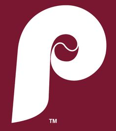 MLB Philadelphia Phillies Cap Logo (1970) - A white P with a baseball in the center on maroon