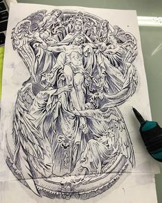 Image may contain: 3 people, drawing Religious Tattoo Sleeves, Lion Tattoo Sleeves, Sleeve Tattoos, Tattoo Design Drawings, Tattoo Sleeve Designs, Tattoo Designs Men, Chicano Tattoos, Body Art Tattoos, Religous Tattoo