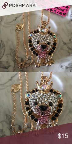 💋BJ Novelty Rhinestone Lion Necklace Brand new with tag! Stunning gold tone necklace accented with silver, pink, and iridescent rhinestones! This cutest lion is movable! Betsey Johnson Jewelry Necklaces