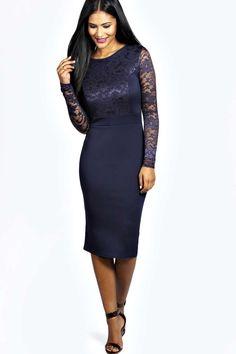Anna Lace Long Sleeve Bodycon Midi Dress