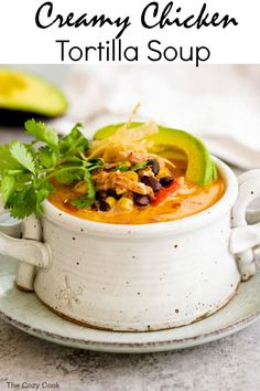 This Creamy Chicken Tortilla Soup Is Full Of Your Favorite Mexican Flavors It's So Easy To Throw Together And A Perfect Way To Make Use Of Leftover Chicken The Cozy Cook Authentic Chicken Tortilla Soup, Healthy Chicken Tortilla Soup, Chicken Soup Recipes, Healthy Soup Recipes, Chicken Flavors, Freezer Chicken, Chicken Soups, Avocado Chicken, Cheesy Chicken
