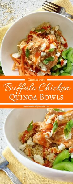 Buffalo Chicken Quinoa Bowls recipe spices up dinner with that tangy and fun taste of buffalo. Make the chicken in the crock pot and then top any number of things. This is great for leftovers and a great family dinner. Crockpot Recipes, Chicken Recipes, Healthy Recipes, Healthy Lunches, Cooker Recipes, Advocare Recipes, Work Lunches, Chicken Dips, Gf Recipes