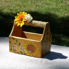 Sunflower Flower Girl Basket For a Country Farm Wedding