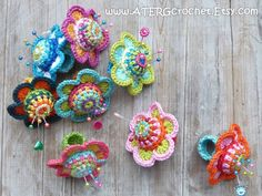 Crochet PINCUSHION FLOWER RING by ATERGcrochet by ATERGcrochet