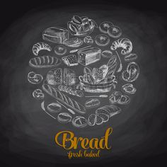 Illustration of Hand drawn vector illustration with bread. Chalkboard vector art, clipart and stock vectors. Chalkboard Text, Chalkboard Vector, Art Du Pain, Coffee Shop Design, Vector Hand, Music Files, Banner Printing, Facebook Image, Image Photography
