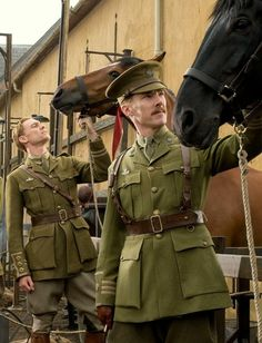 Tom Hiddleston and Benedict Cumberbatch from War Horse. - The sharp jaws and cheek bines in this pic are tooo much!!