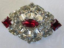 Vintage Designer Signed WEISS Ruby & Clear Rhinestones Diamond Shape Pin Brooch