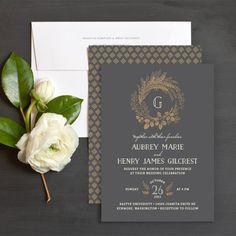 Woodsy Wreath Wedding Invitations by Emily Crawford | Elli
