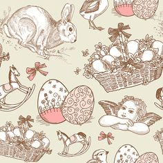 This #Easter #background is perfect for a holiday card or scrap-book. The vintage doodles are fun for a casual touch to your project.