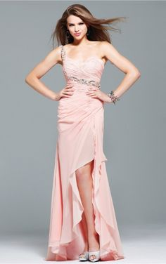 Pink Sheath Asymmetrical One Shoulder Dress [Dresses 10056] - $196.00 :