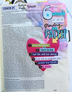 JANEL MACLEAN | 6 steps for Growing in Faith Bible Text, Bible Notes, Bible Study Journal, Journal Art, Illustrated Faith, Scripture Art, Handmade Books, Oppression, Journal Inspiration