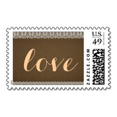Burlap and Lace Rustic Country Love Wedding Postage