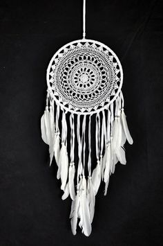 Dream Catcher ~ White Crochet with swan feathers Boho, Hippie, Gypsy Style with White Feathers and Beads 27cm x 71cm Long!: Amazon.co.uk: Kitchen & Home