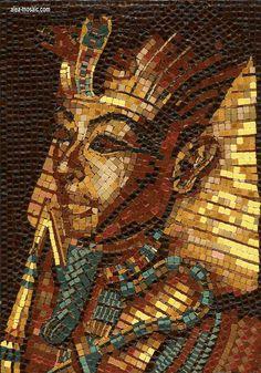 Mosaic Head of Pharaoh - Mosaik Pharao - Mosaique Pharaon - Micro Ceramic tiles - Hand Made  By Alea Mosaik