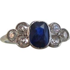 Vintage Estate Sapphire & Diamond Engagement Birthstone Ring Platinum