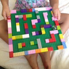 Marble Lego maze is requires motor planning, or praxis for completion. This goal of this activity is to get a marble out of the maze while utilizing fine motor, visual motor, and sensory input. Toddler Activities, Preschool Activities, Lego Maze, Van Lego, Marble Maze, Lego Challenge, Lego Club, Lego For Kids, Lego Building