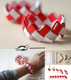 Paper bracelet origami Used to do this with chewing gum wrappers. Origami Jewelry, Diy Origami, Origami Tutorial, Paper Jewelry, Paper Beads, Origami Paper, Diy Paper, Paper Crafts, Diy For Kids