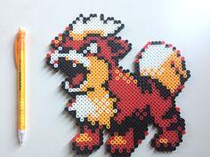 Growlithe Pokemon perler beads by TinyDoctorCrafts