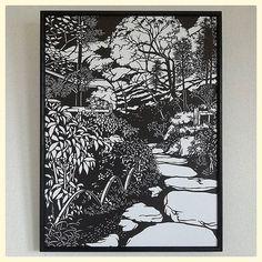 『庭園』 額サイズは 三々です  #切り絵 #アート #切り絵アート #paperart #papercut #papercutting #北鎌倉 #庭園 #日本庭園 #東慶寺