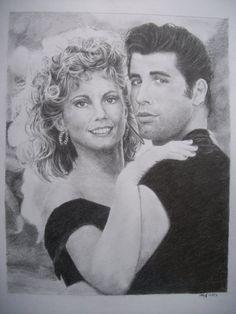 Grease. Olivia Newton John, John Travolta. Pencil by ~MrMarkzilla on deviantART | First pinned to Celebrity Art Board here- http://pinterest.com/fairbanksgrafix/celebrity-art/  #Art #CelebrityArt