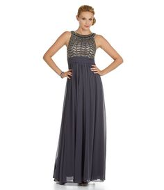 Light Grey:JS Collections Empire Waist Beaded Gown