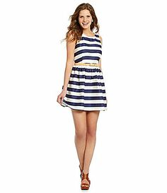 Jodi Kristopher Sateen Striped ALine Dress #Dillards Love this dress. Better in person than online