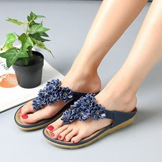 fb25ff00e647f1 Socofy Flowers Bohemia Clip Toe Soft Beach Flat Slippers Slipper Boots