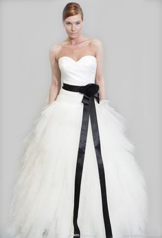 Modern trousseau 2011 bridal gown collection, Wallis strapless wedding dress with black sash