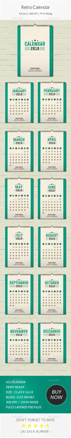 2019 One Page Wall Calendar #stationery #PrintDesign #template