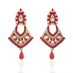 I Jewels Womens Tradtional Gold Plated Kundan Earrings Red >>> See this great product. Note:It is Affiliate Link to Amazon.