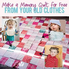 Make a Memory Quilt  from  Old Clothes! LOVE This Idea!! #memory #quilting howdoesshe.com