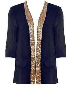 Sequin Business Blazer: Features a chic collarless design framed by easy elbow-length sleeves, glittering sequin lapel, two front mock pockets, and rear inverted pleating to finish.