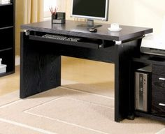 Coaster Peel Computer Desk with Keyboard Tray - Coaster Fine Furniture Modern Home Office Furniture, White Bathroom Furniture, Wood Office Desk, Home Office Computer Desk, Home Desk, Modern Desk, Computer Desks, Buy Computer, Office Table