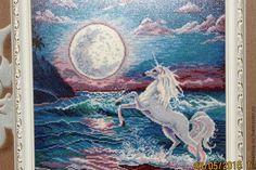Купить Вышитая картина Единорог - морская волна, синий, белый, единорог, фентези, фантазийный сюжет