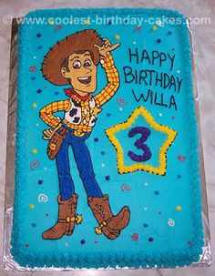 This might be more my speed - sheet cake with woody traced and frosted. Toy Story Birthday Cake, Woody Birthday, Birthday Sheet Cakes, Cool Birthday Cakes, 1st Birthday Girls, 3rd Birthday Parties, Birthday Ideas, Fête Toy Story, Toy Story Cakes