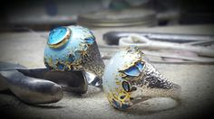 Butterflies sterling silver  rings decorated with enamel golden leaves and semiprecious stones