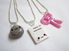 Rock Paper Scissors Best Friends Kawaii Cute Polymer Clay Charms Necklace - 3 Piece Set