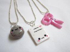 Rock Paper Scissors Best Friends Kawaii Cute Polymer Clay Charms Necklace - 3 Piece Set