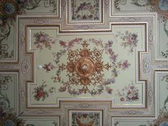 Ceiling Art, Stencil Painting, Crown Molding, Caligraphy, Tile Floor, Stencils, Vintage World Maps, Tiles, Child