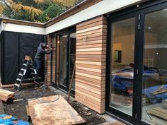 Red Cedar Style At Home, House Cladding, House Extension Design, House Extensions, Patio Doors, Home Living Room, Home Deco, Exterior Design, Home Remodeling