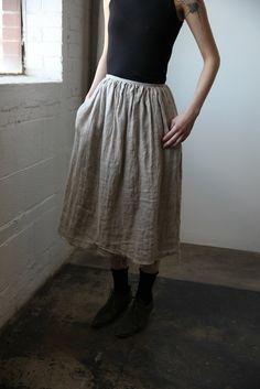 Double Layer Linen Skirt - Natural