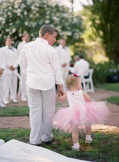 Flower girl outfit, pink tutu skirt, ring bearer in seersucker pants // Tanja Lippert Photography